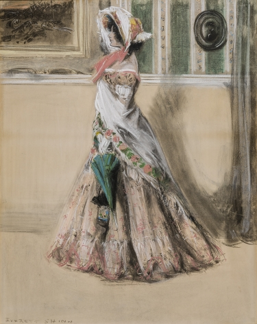 "Image of Everett Shinn's Julia Marlowe as Barbara Frietchie in the Play, ""Barbara Frietchie, The Frederick Girl"", pastel on paper mounted on board, 37 3/4 by 29 3/4 inches, painted in 1899."