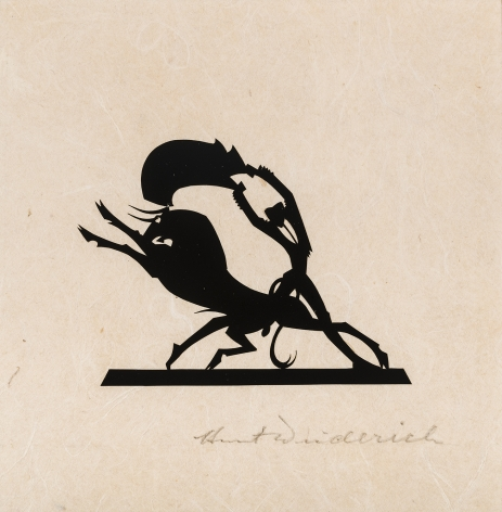 """HUNT DIEDERICH (1884–1953), """"Matador and Bull (Small)."""" Paper cutout on rice paper, 4 3/4 x 4 5/8 in."""