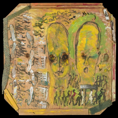 """Purvis Young (1943–2010), """"Urban Angels with Funeral and Cars,"""" about 1990. Mixed media on wood, 48 x 48 in."""