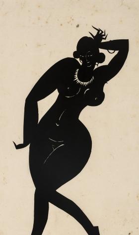 "HUNT DIEDERICH (1884–1953), ""Voluptuous Woman."" Paper cutout, 12 x 7 1/2 in."