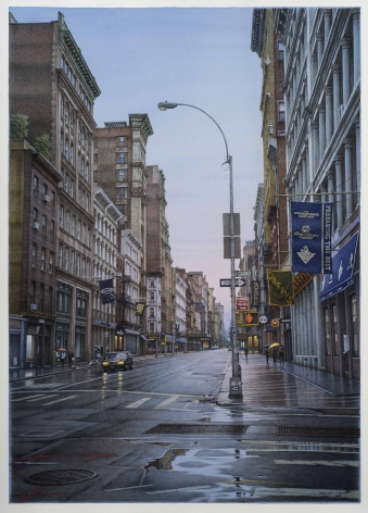 watercolor painting of Grand Street and Broadway intersection in New York City on a rainy day