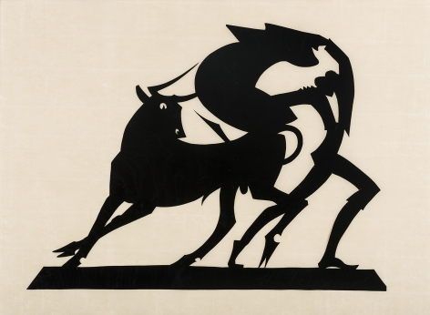 """HUNT DIEDERICH (1884–1953), """"Matador and Bull (Large)."""" Paper cutout, 9 1/2 x 13 in."""