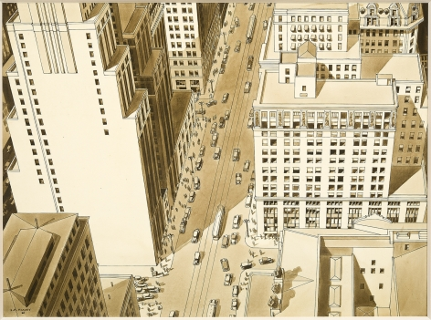 """LAWRENCE EDWIN BLAZEY (1902–1999), """"Euclid Avenue, Cleveland,"""" about 1930. Ink, pencil, wash on paper, 12 1/4 x 16 7/8 in."""