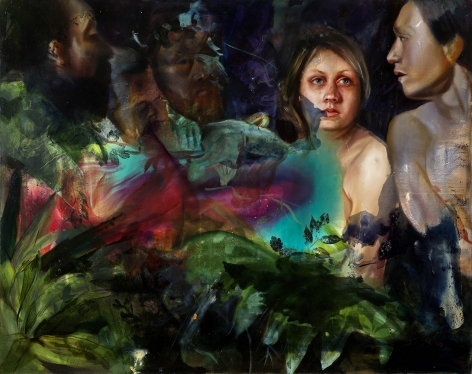 a painting by Angela Fraleigh of women from various art historical sources in a complex tangle of abstract color and plants