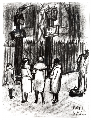"""RUTH LIGHT BRAUN (1906–2003), """"Waiting for the Train, Pennsylvania Station,"""" about 1928. Conté crayon on paper, 11 x 8 1/2 in."""