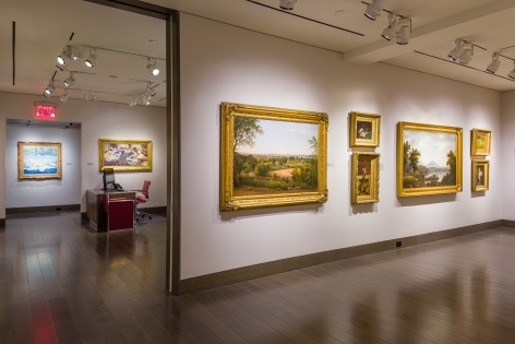 """""""American Cornucopia."""" Installation view showing 8 paintings over 3 gallery rooms."""