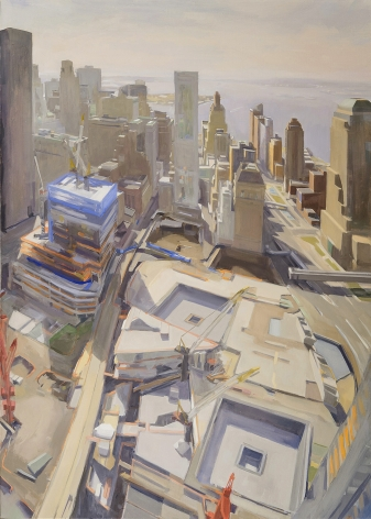 """Diana Horowitz (b. 1958), """"World Trade Center Reflecting Pools and Harbor #2,"""" 2011. Oil on linen, 42 x 30 in."""