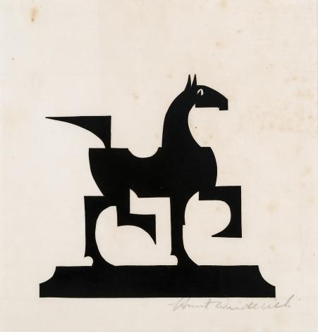"""HUNT DIEDERICH (1884–1953), """"Cubist Horse."""" Paper cutout, 7 x 7 in."""