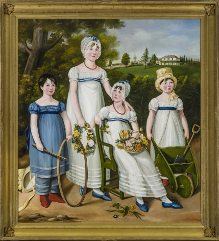 ENGLISH NAIVE SCHOOL, Portrait of Four Children in a Country Landscape, about 1810