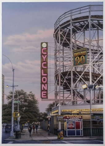 """FREDERICK BROSEN (b. 1954), """"West 10th Street, Coney Island,"""" 2018. Watercolor over graphite on paper, 34 3/4 x 25 in."""