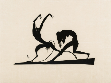 """HUNT DIEDERICH (1884–1953), """"Satyr and Nymph."""" Paper cutout, 9 x 12 in."""
