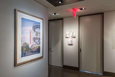 """""""The Madding Crowd"""" gallery installation, June 2021. Entrance hallway, with works by (left to right) Frederick Brosen and Diana Horowitz."""