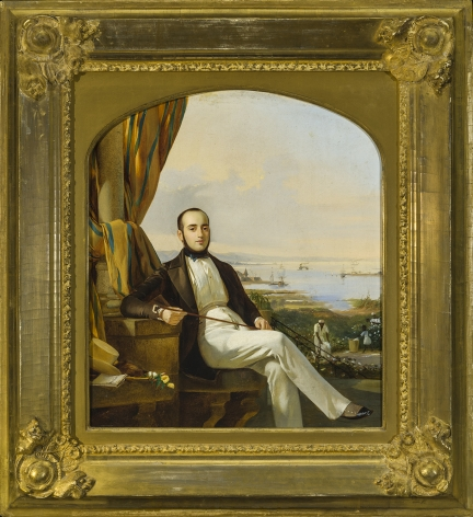 AMERICAN or EUROPEAN SCHOOL, Portrait of a Gentleman, with a Cotton Plantation in the Background, about 1840–55