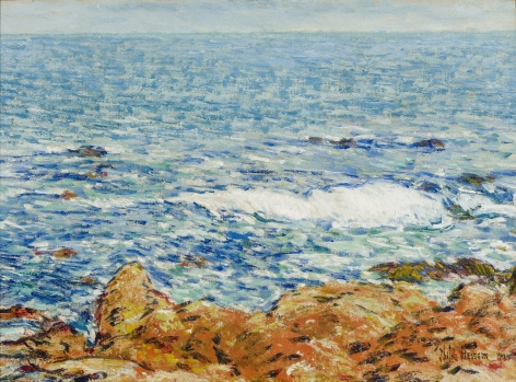 """Childe Hassam (1859–1935), """"Seascape: Appledore, Isles of Shoals,"""" 1902. Oil on canvas, 14 1/4 x 19 1/2 in."""