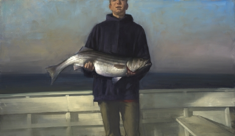 Randall Exon (b. 1956), Boy With Striped Bass, 2011