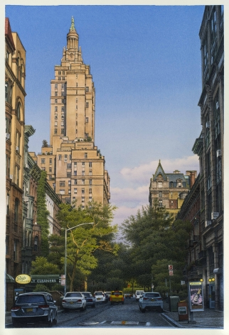 watercolor painting of bright sky and big buildings on West 74th Street in New York City