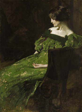 Image of John White Alexander's Green Girl, oil on canvas, 48 by 35 1/2 inches, painted about 1897.