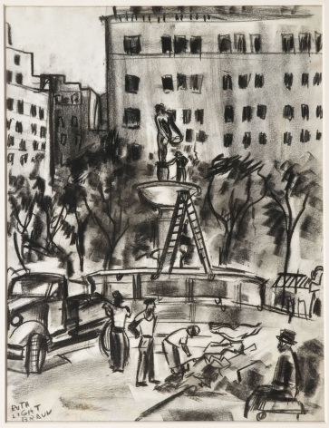 """RUTH LIGHT BRAUN (1906–2003), """"Fifty-Ninth Street, Plaza Fountain,"""" about 1929–29. Conté crayon on paper, 11 x 8 1/2 in."""