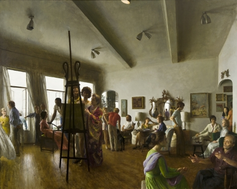 Image of John Koch's The Party, oil on canvas, 48 by 60 inches, painted in 1971.