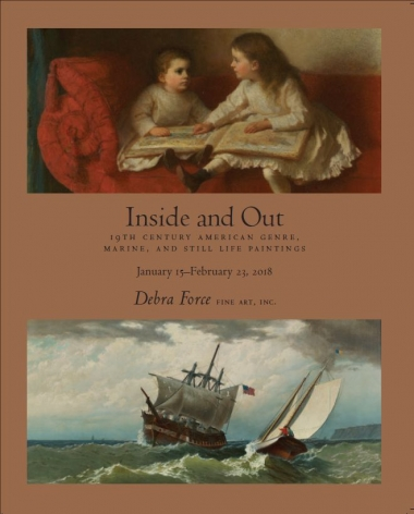 Exhibition catalogue cover with detail of two children reading and seascape with ships