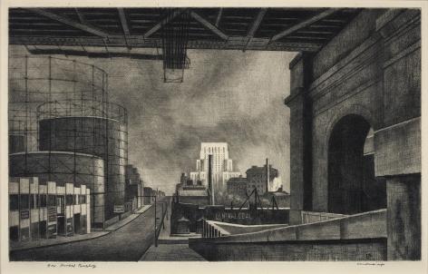 Armin Landeck (1905-1984), York Avenue, Sunday Morning, 1939