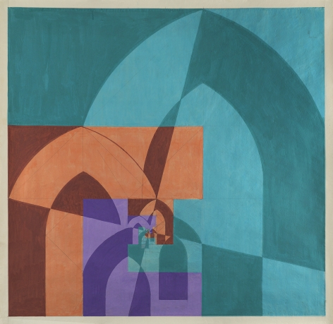 Benny Collin (1896-1980), Untitled (Abstraction in Blue, Brown and Purple)