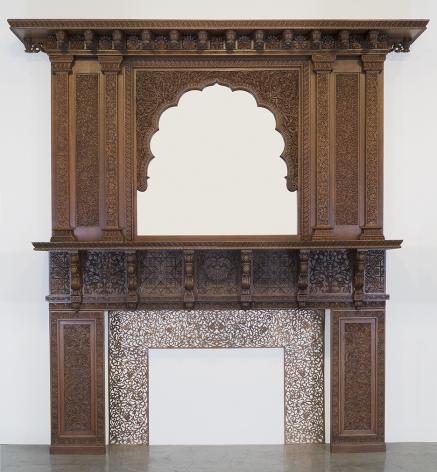 Lockwood de Forest (1850-1932), Carved Teakwood Mantel with Mirror