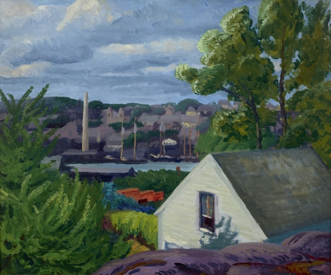 John Sloan (1871-1951), Rock, Roof and Buttonwood, 1917
