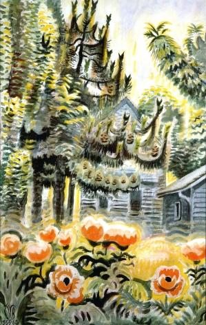 Charles Ephraim Burchfield (1893-1967), Pine Trees and Oriental Poppies, 1955-60