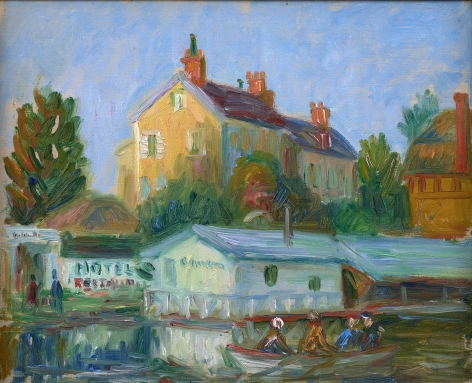 landscape with water and buildings