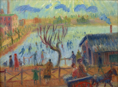 figures in landscape with buildings