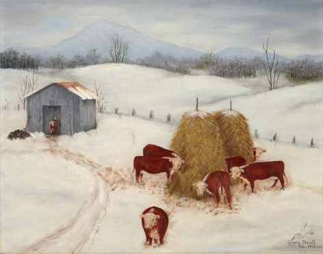 Queena Stovall (1887-1980), Herefords in the Snow, Feb. 1963