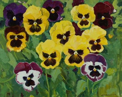 Jane Peterson (1876-1965), Seven Yellow Pansies