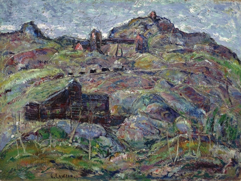 landscape with buildings and mountains