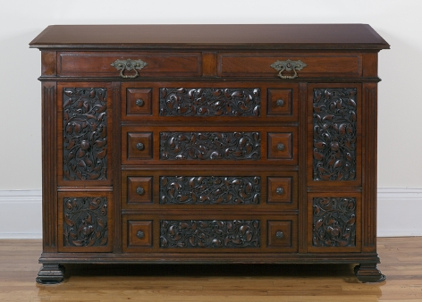 Lockwood de Forest (1850-1932), Wine Cabinet with Carved Arabesque Panels, circa 1885-95