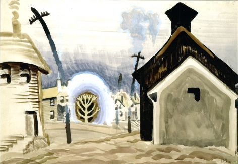Charles Ephraim Burchfield (1893-1967)  , Village in Wind Storm, 1917