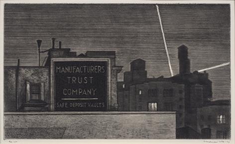 Armin Landeck (1905-1984), Manufacturers Trust/ Manhattan Nocturne, circa 1938-1974