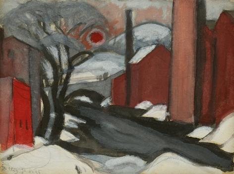 "Oscar Bluemner (1867-1938), Study ""Winter Sun"" Mill Creek, Elizabeth, NJ, 1925"