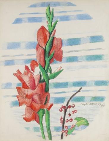 Joseph Stella (1877-1946), Red Gladioli and Berries