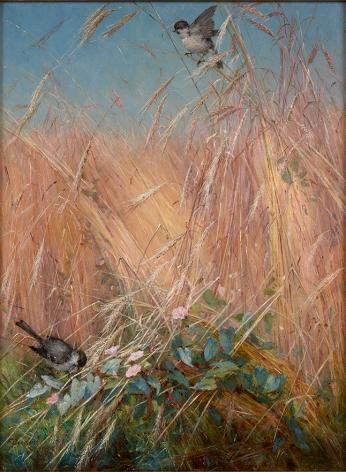 Fidelia Bridges (1834-1929), Chickadees, Wheat and Morning Glory, 1879