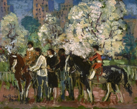 horses and riders in central park
