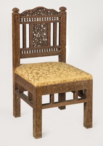 Lockwood de Forest (1850-1932), Carved Teakwood Side Chair, circa 1885