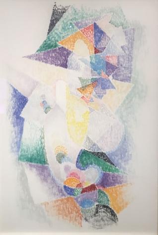 Blue, Green, Purple, Orange abstract on white
