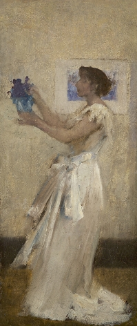 James Jebusa Shannon (1862-1923), Woman in White with Flowers, circa 1886