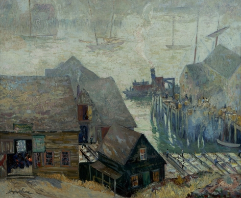 Richard Hayley Lever (1876-1958), Gloucester Rooftops and Harbor, circa 1920s