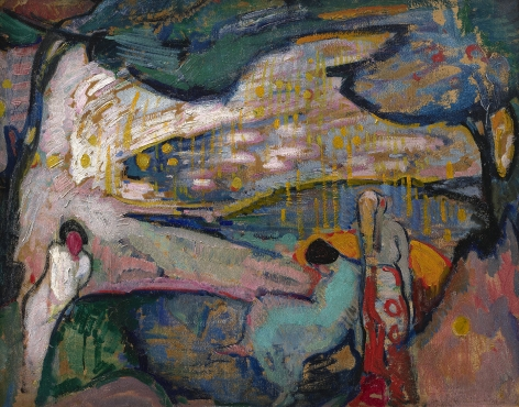abstracted landscape with figures