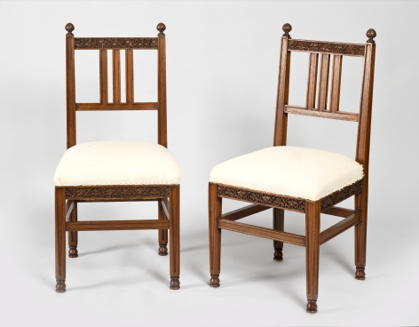 Lockwood de Forest (1850-1932), Carved Teakwood Pair of Side Chairs, circa 1895