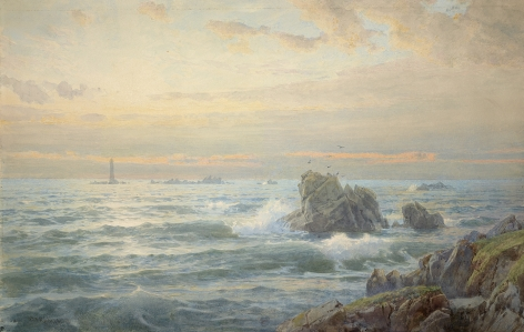 William Trost Richards (1833-1905), Rocky Coast with Lighthouse