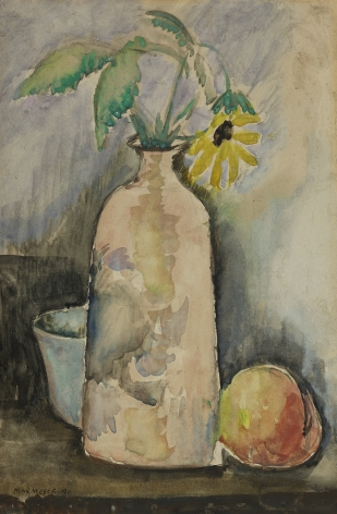 Max Weber (1881-1961), Still Life with Daisy, Bottle, and Peach, 1911