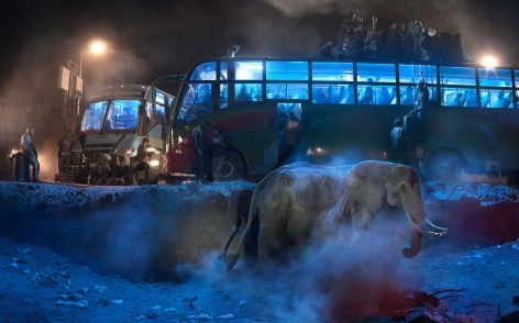 Nick Brandt, bus station with elephant in dust
